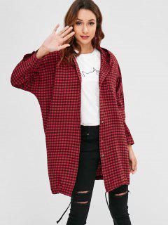 Plaid Hooded Shift Long Shirt - Multi