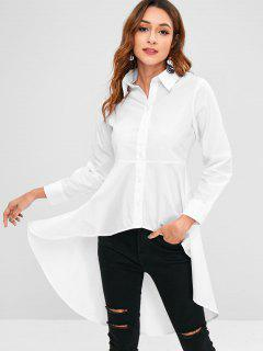 Button Up High Low Shirt - White L