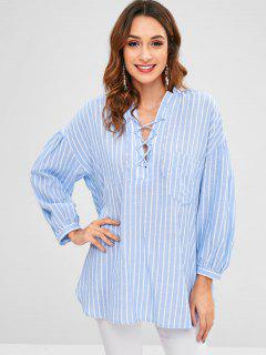 Lace Up Striped Pocket Blouse - Light Blue L