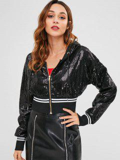 Sequined Striped Cropped Jacket - Black