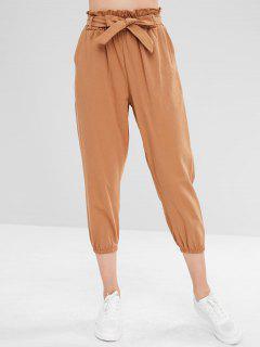 High Waist Jogger Pants With Belt - Light Brown M