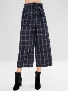 Belted Wide Leg Plaid Pants - Multi M