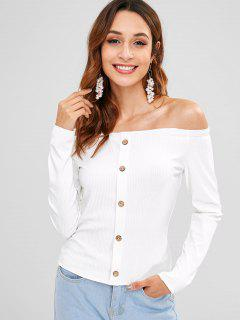 Buttoned Ribbed Off The Shoulder Top - White M