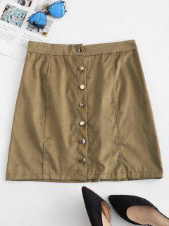 Button Up High Waist Skirt - Khaki M