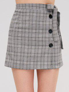 Buttoned Plaid Tied Side Skirt - Light Gray L