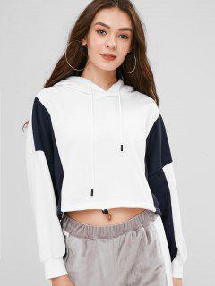 Color Block Hoodie With Elastic Hem - White Xl