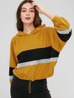 Raglan Sleeves Pullover Hoodie - Yellow Xl