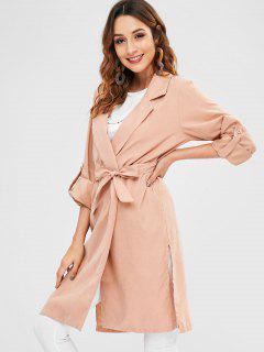 Side Slit Wrap Trench Coat - Sakura Pink Xl