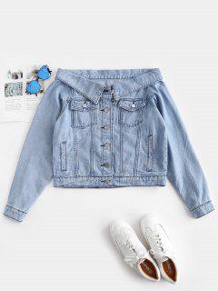 Fuera De Los Bolsillos De Hombro Chaqueta De Mezclilla - Azul De Jeans  L