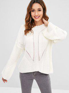 Hollow Out Sweater Con Cordones - Blanco