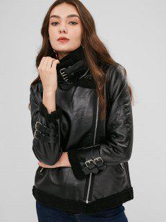 Faux Leather Zipper Fleece Coat - Black L