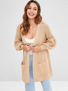 Patch Pocket Balloon Sleeve Cardigan - Camel Brown S