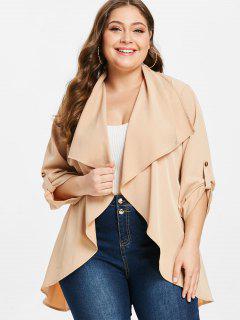 ZAFUL Plus Size Tunic Belted Coat - Apricot 3x