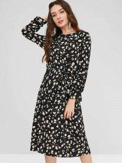 Printed Tie Midi Dress - Black