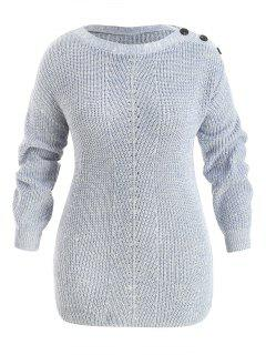 Plus Size Drop Shoulder Button Sweater - Blue Gray 5x