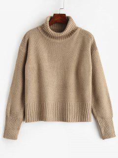 Plain Pullover Turtleneck Sweater - Camel Brown