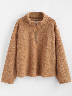 Half Zip Oversized Fluffy Sweatshirt - Camel Brown L