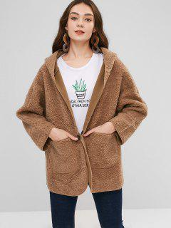 Oversize Fluffy Hooded Coat With Pockets - Light Brown