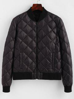 Zipper Quilted Down Jacket - Black Xl