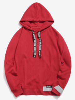 Letter Print Ribbon Embellished Hoodie - Red M