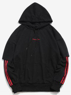 Embroidery False Two Piece Hoodie - Black 3xl