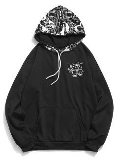 Abstract Cartoon Print Hoodie - Black M