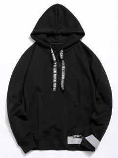 Letter Print Ribbon Embellished Hoodie - Black Xl
