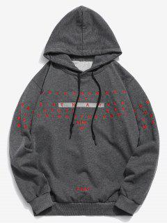 Letter Embroidery Hooded Sweatshirt - Gray M