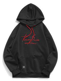 Kangaroo Pocket Letter Print Sweatshirt - Black L
