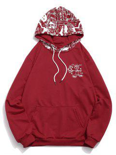 Abstract Cartoon Print Hoodie - Red Wine Xl