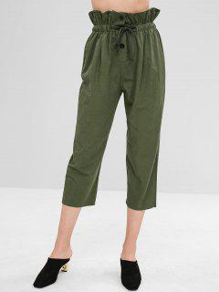 Hohe Taille Button Fly Hosen - Armeegrün