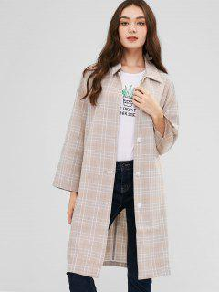 Cuffed Sleeves Buttoned Plaid Coat - Multi-b L