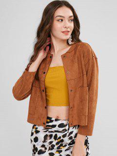 Drop Shoulder Suede Jacket With Pockets - Brown L