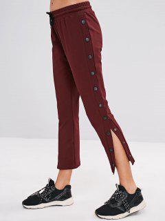 ZAFUL Drawstring Button Side Pants - Red Wine M