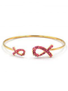 Stylish Rhinestone Bowknot Alloy Cuff Bracelet - Gold