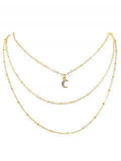 Rhinestone Moon Multi Layers Elegant Necklace - Gold