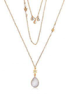 Multi Layered Rhinestone Star Water Drop Necklace - Gold