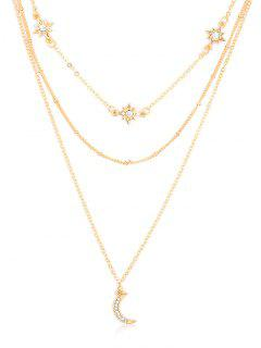 Elegant Star Moon Rhinestone Multi Layers Necklace - Gold