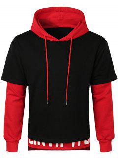 Layered Bottom Drawstring Letter Hoodie - Red M