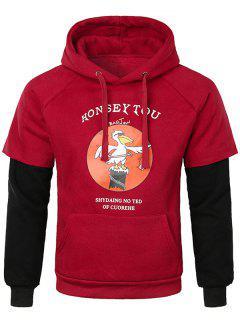 False Two Pieces Kanga Pocket Hoodie - Red S