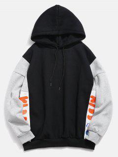 Fleece Lined Color Block Graphic Hoodie - Black L