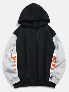 Fleece Lined Color Block Graphic Hoodie - Black 2xl