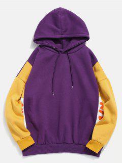 Sudadera Con Capucha Con Gráfico De Bloque De Color Forrado Con Polar - Púrpura Xl