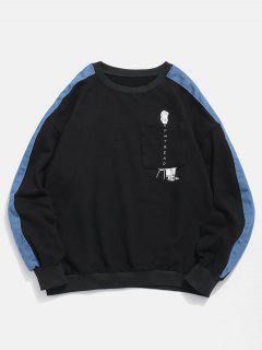 Denim Trim Cartoon Pocket Sweatshirt - Black 2xl
