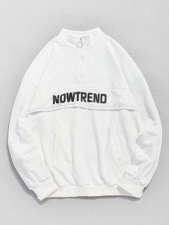 Half Zip Pockets Letter Sweatshirt - White L