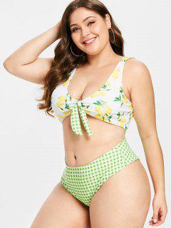 Plus Größe Lemon Tied Plaid Bikini Set - Multi-a 3xl
