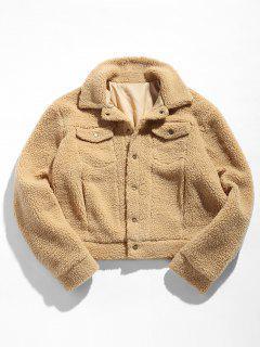 ZAFUL Snap Button Pocket Fluffy Jacket - Camel Brown M