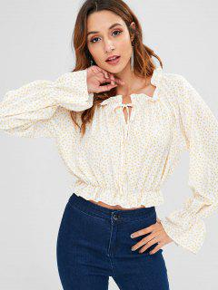 ZAFUL Polka Dot Flare Sleeve Frilled Blouse - Cream L