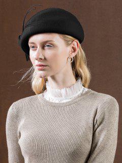 Vintage Knot Woolen Beret - Black