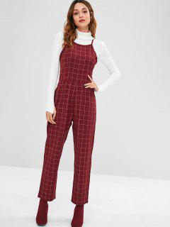 ZAFUL Checked Straight Jumpsuit - Maroon S